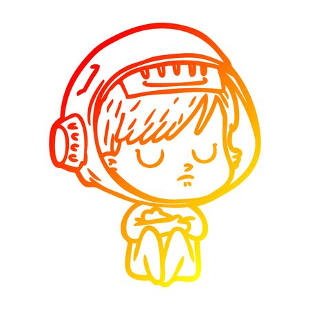warm gradient line drawing of a cartoon astronaut woman  イラスト・ベクター素材