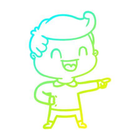 Kalte Steigungslinie Zeichnung eines glücklichen Mannes der Karikatur, der zeigt