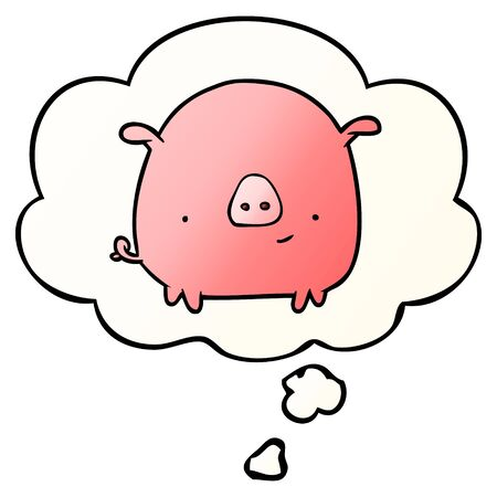 cartoon pig with thought bubble in smooth gradient style  イラスト・ベクター素材