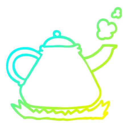 cold gradient line drawing of a cartoon kettle on stove 일러스트
