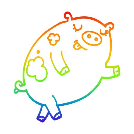 rainbow gradient line drawing of a cartoon dancing pig