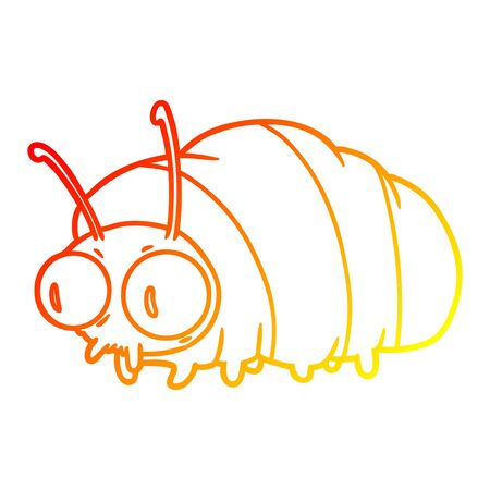 warm gradient line drawing of a funny cartoon bug