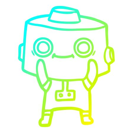 cold gradient line drawing of a cartoon robot Foto de archivo - 129815967