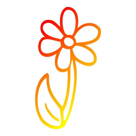 warm gradient line drawing of a cartoon single flower