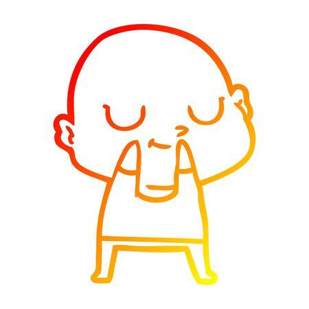 warm gradient line drawing of a cartoon bald man