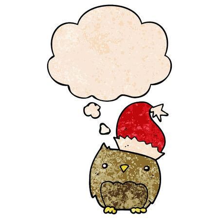 cute christmas owl with thought bubble in grunge texture style Illustration