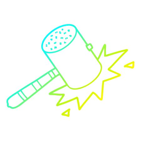 cold gradient line drawing of a cartoon banging gavel  イラスト・ベクター素材