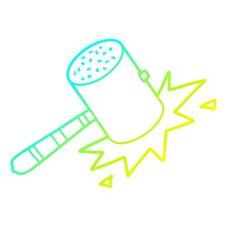 cold gradient line drawing of a cartoon banging gavel Ilustração
