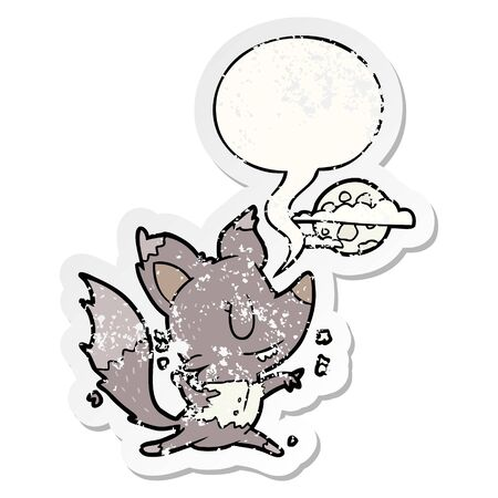 cartoon halloween werewolf changing in moonlight with speech bubble distressed distressed old sticker