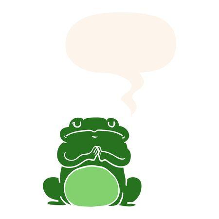 cartoon arrogant frog with speech bubble in retro style