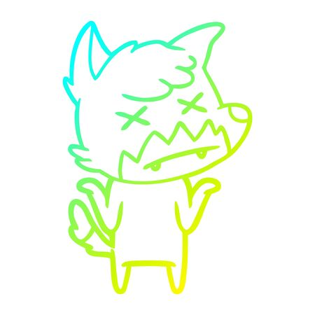 cold gradient line drawing of a cartoon dead fox Illustration