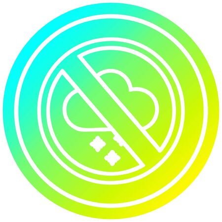 no cold weather circular icon with cool gradient finish