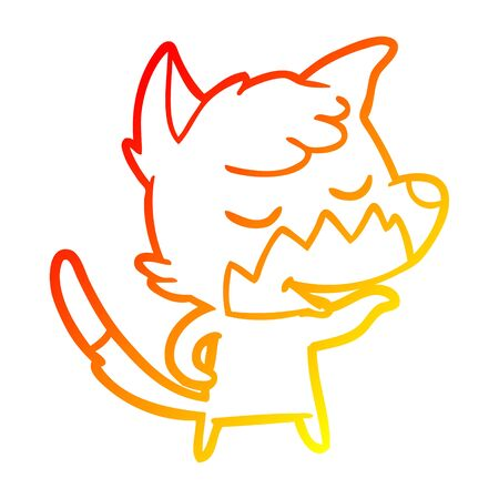 warm gradient line drawing of a friendly cartoon fox Illustration