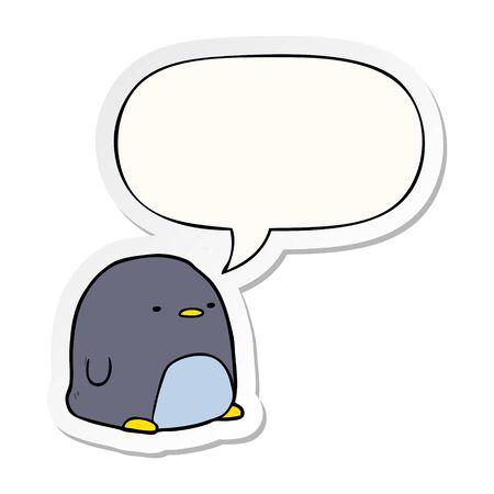 cute cartoon penguin with speech bubble sticker