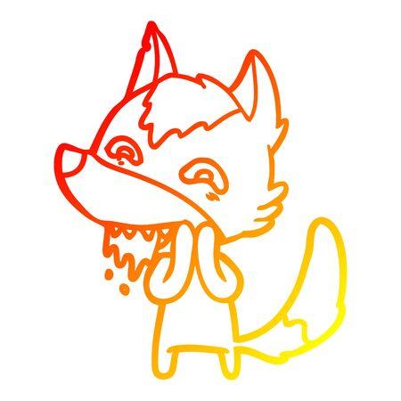 warm gradient line drawing of a cartoon hungry wolf Ilustração