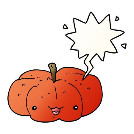 cartoon pumpkin with speech bubble in smooth gradient style 일러스트