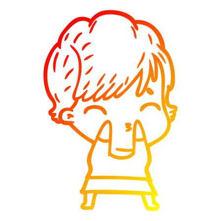 warm gradient line drawing of a cartoon woman thinking