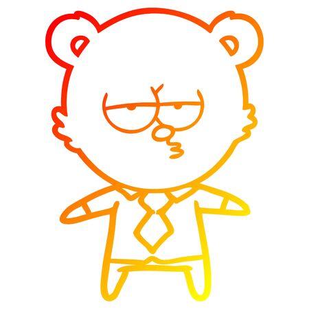 warm gradient line drawing of a bear boss cartoon