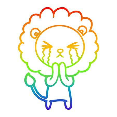 rainbow gradient line drawing of a cartoon crying lion praying Standard-Bild - 129815944