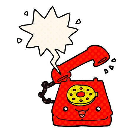 cute cartoon telephone with speech bubble in comic book style Illusztráció