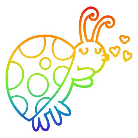 rainbow gradient line drawing of a cartoon ladybug Ilustracja