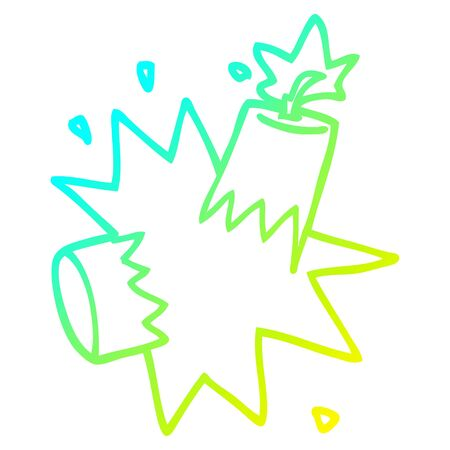 cold gradient line drawing of a cartoon dynamite