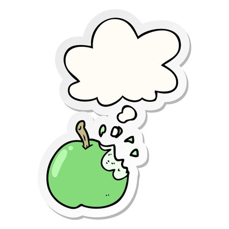 cartoon bitten apple with thought bubble as a printed sticker