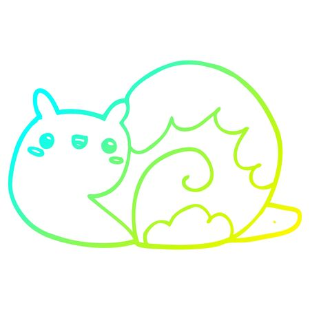 cold gradient line drawing of a cute cartoon snail
