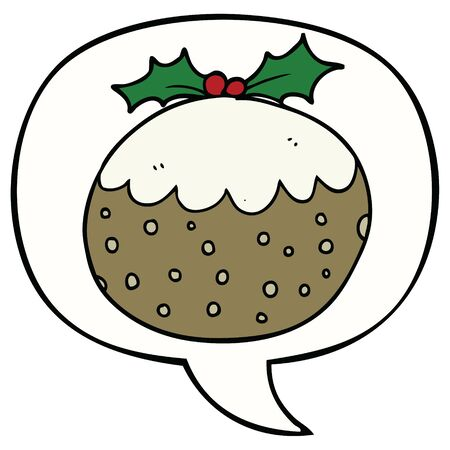 cartoon christmas pudding with speech bubble