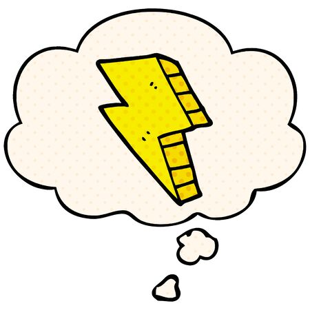 cartoon lightning bolt with thought bubble in comic book style