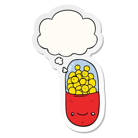 cartoon pill with thought bubble as a printed sticker
