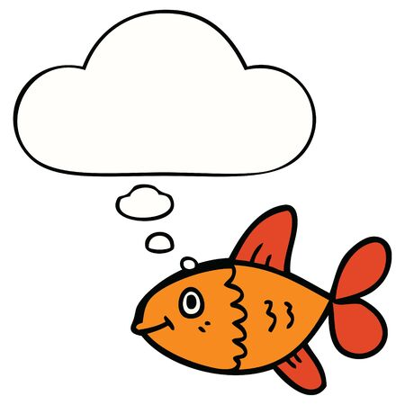 cartoon fish with thought bubble  イラスト・ベクター素材