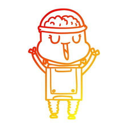warm gradient line drawing of a happy cartoon robot Foto de archivo - 129816128