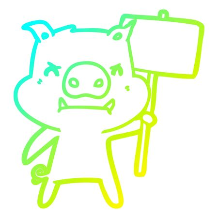cold gradient line drawing of a angry cartoon pig protesting Illustration
