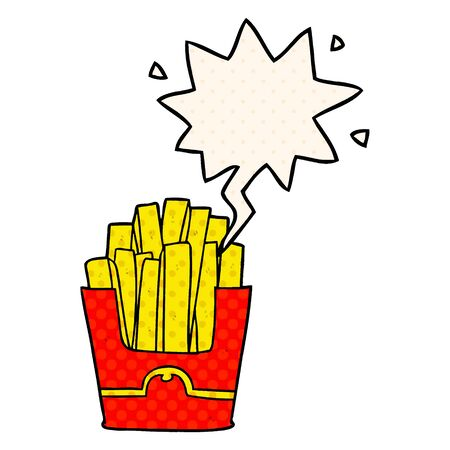 cartoon junk food fries with speech bubble in comic book style  イラスト・ベクター素材