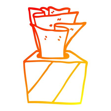warm gradient line drawing of a cartoon box of tissues