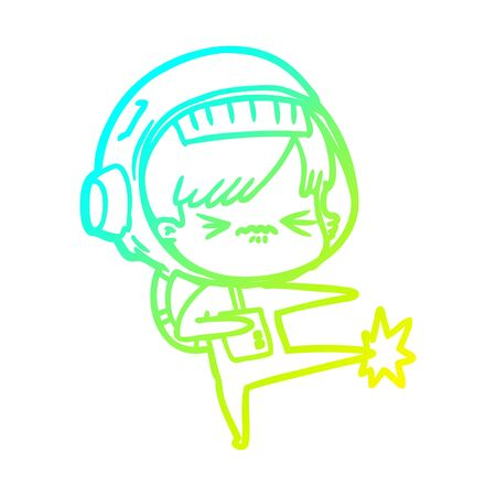 cold gradient line drawing of a angry cartoon space girl stubbing toe