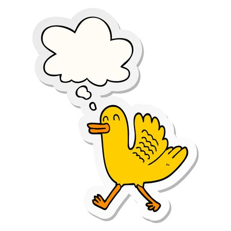 cartoon duck with thought bubble as a printed sticker Ilustração