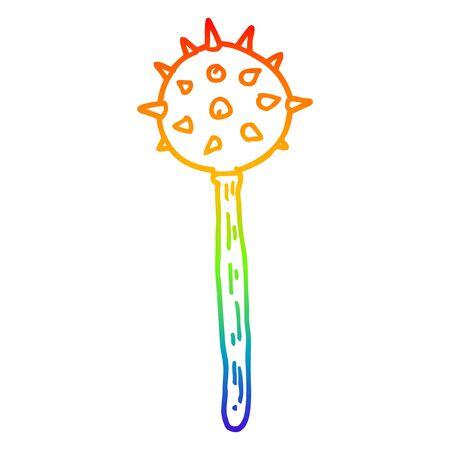 rainbow gradient line drawing of a cartoon medieval mace