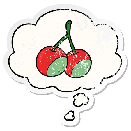 cartoon cherries with thought bubble as a distressed worn sticker