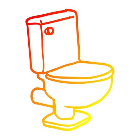 warm gradient line drawing of a cartoon closed toilet Illustration