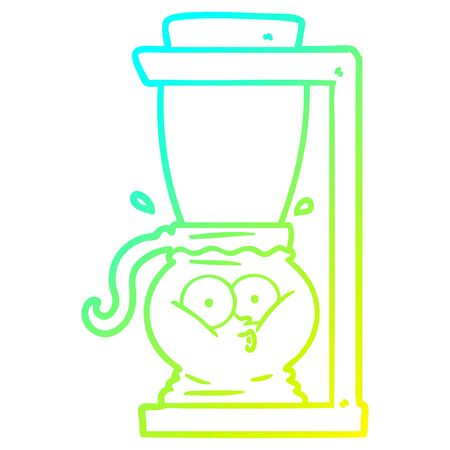 cold gradient line drawing of a cartoon filter coffee machine Reklamní fotografie - 129816132