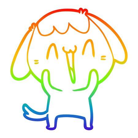 rainbow gradient line drawing of a cute cartoon dog Illusztráció