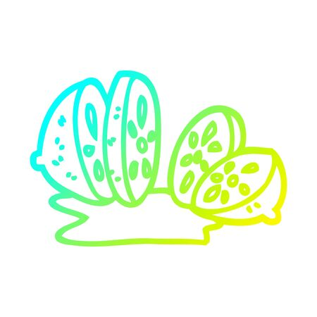 cold gradient line drawing of a cartoon sliced lemon 스톡 콘텐츠 - 129816101