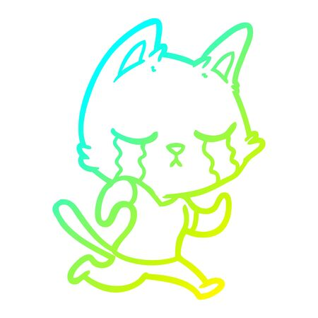 cold gradient line drawing of a crying cartoon cat running away Stockfoto - 129816107