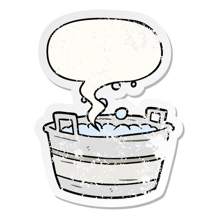 cartoon old tin bath full of water with speech bubble distressed distressed old sticker Imagens - 129816151