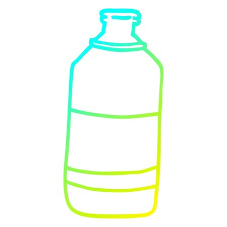 cold gradient line drawing of a cartoon water bottle Illustration
