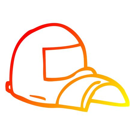 warm gradient line drawing of a cartoon baseball cap Illustration