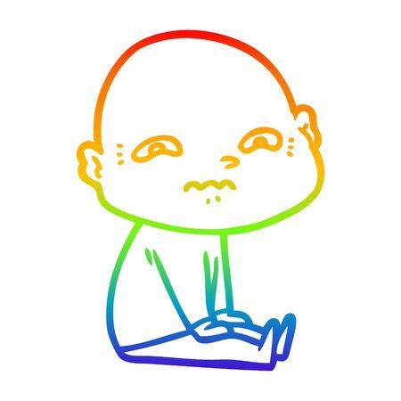 rainbow gradient line drawing of a cartoon nervous man Ilustrace