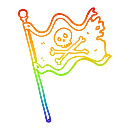 rainbow gradient line drawing of a pirate flag